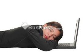 Tired-Overworked-Business-Woman-Sleeping-On-Her-Laptop-Being-Exhausted-From-Work-Beautiful-Mixed-Race-Chinese-AsianCaucasian-Young-Businesswoman-Isolated-On-White-And-Lying-Down-On-The-Floor-2cc5ec